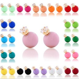 Wholesale Colored Ball Stud Earrings - Factory direct sale 18 colors zircon earring stud DFMTE8,wholesale candy colored double sided round ball earrings luscious for women jewelry