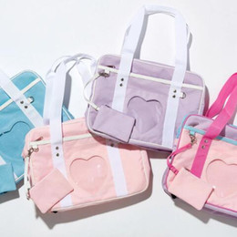 Wholesale Japanese Lolita - New Ita Bag Japanese Heart Window School Bag Girl Pink JK Uniform Handbag Shoulder Bag Tote Lolita Cosplayer Fashion Totes CCA8417 50pcs