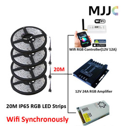Wholesale Mini Led 12v - Synchronously 20M SMD 5050 Waterproof IP65 RGB Multi Color LED Strip Light + Mini Wifi 12A RGB Controller +12V 25A 300W Power Supply