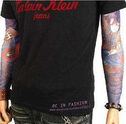 Wholesale Tattoo Sleeves Free Shipping - Wholesale-12pcs mix elastic Fake temporary tattoo sleeve 3D art designs body Arm leg stockings tatoo cool men-women Free shipping