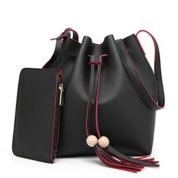 Wholesale Leather Drawstring Purse - fashion tassel bags Women's bucket bag PU leather shoulder bag girls lady drawstring bags handbag with wallet purse coin bag