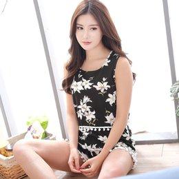 Wholesale womens summer pyjamas - Wholesale- Hot 2017 Summer women Pajamas set sleeveless sleepwear Flowers printed womens girls Pyjamas leisure vest pajamas suit