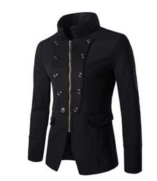 Wholesale Jackt Men - 2018 Mens Coat Slim Autumn Winter Stand Collar Winebreaker Coats Slant Button Wool& Blends Metal Buckle M-XXL Windbreaker Warm Jackt For Men