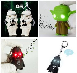 Wholesale Home Keyrings - YODA Black Star wars LED Keyrings luminous Dark Warrior LED Star Wars Darth Vader Keychains with Sound Light Lamp Flashlight Keychain