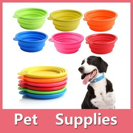 Wholesale Hair Bowls - Collapsible Silicone Cat Dog Pet Feeding Bowl Water Dish Feeder Portable Hot Sell With 6 Colors