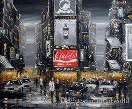 Wholesale View Landscape - Times Square New york Manhattan City VIEWS,Pure Hand Painted Art Oil Painting Canvas.any customized size accepted Jo
