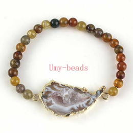 Wholesale Yellow Stone Silver Bracelet - Wholesale 10Pcs Silver Or Gold Plated Natural Druzy Agate Geode Quartz Crystal Stone With Yellow Dragon Agate Round Beads Bracelets Jewelry