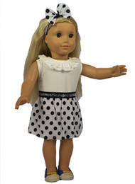 Wholesale Headbands For Dolls - Fashion Style Polk Dot Dress and White Top Shirt Doll Clothes and Headband for 18 American Girl Doll