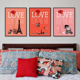 Wholesale Posters Eiffel Tower - Triptych Romantic Paris City Eiffel Tower Love Balloon A4 Art Print Poster Home Wall Picture Canvas Painting Wedding Decoration