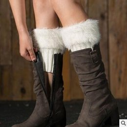 Wholesale Wholesale Ankle Cuff - Ankle Boot Covers Faux Fur Knit Boot Cuffs Shaggy Women Leg Warmers Winter Crochet Knitted Warmers Toppers Acrylon Cover Socks Free Shipping