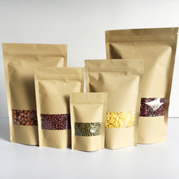 Wholesale Transparent Food Bag - 100Pcs Food Zip-lock Kraft paper bag Stand up pouch with transparent window for dried food grains tea packaging