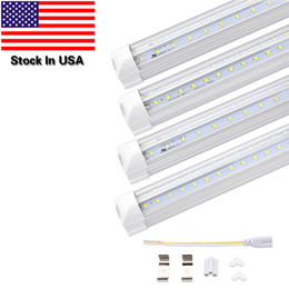 Wholesale Cree Lighting Stock - Stock In US,4FT 5FT 6FT 8FT LED Tube Lights,Dual-sided V-shape Integrated,AC100-277V,Clear Cover,Cold White 6000K,LED Cooler Door Lights