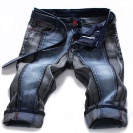 Pantalon spandex en Ligne-Nouveau Designer Jeans Hommes Été Style Patchwork Mens Court Pantalon Denim Pants Casual Mens Court Plus La Taille