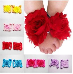 Wholesale Baby Barefoot Sandals Headband - baby barefoot flower with feet hair flower shoes sandals baby flowers foothold hair accessories headbands hairbands