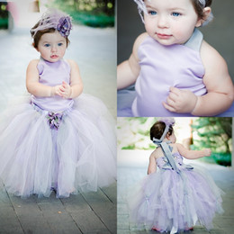 Wholesale Tow Pieces - Little Baby Toddler Flower Girl Dresses Lavender Satin Halter Tulle Ball Gowns Girl Pageant Dresses Tow Piece Birthday Party Dress MC0205