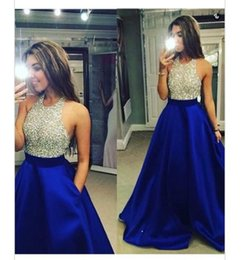 Wholesale Backless Tops Open Back - 2016 Royal Blue Satin Formal Prom Dresses Jewel Neck Sparkly Sequined Top Sexy Open Back Arabic Evening Occasion Gowns Vestidos De Novia