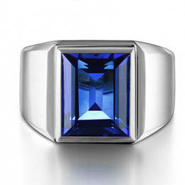 Wholesale Blue Sapphire Ring 925 Silver - Victoria Wieck Men Fashion Jewelry Solitaire 10ct Blue Sapphire 925 Sterling silver Simulated Diamond Wedding Band finger Ring Gift Size8-13