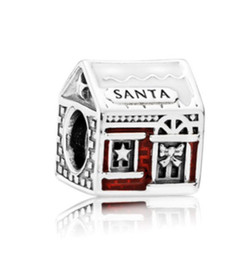 Wholesale Holiday Housing - Fit Pandora Charm Bracelet Christmas Santa Series House European Silver Charms Beads DIY Snake Chain For Women Bangle Necklace Jewelry Xmas