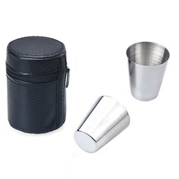 Wholesale Bowl Cup Set - Wholesale-New 6pcs 30ML Cups Bowls Stainless Steel Set Wine Beer glass Mugs kitchen outdoor drinking tools