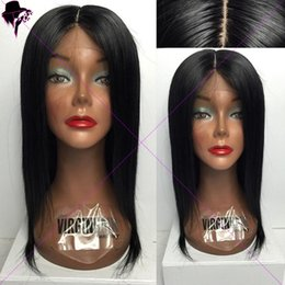 Wholesale Human Lacefront Wigs - Unprocessed Human Hair Lacefront Wig Bleached Knots silky straight Full Lace Wig For Black Women Brazilian Straight hair