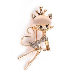 Wholesale Hijab Selling - 2016 Crystal Kitten Brooch lapel pin Pins Accessories Green Women Wedding hijab pins HOT selling Jewelry Corsage zj-0903675