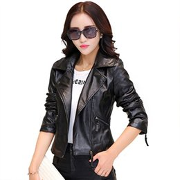 Wholesale Cheap Faux Leather Jacket - Wholesale-Hot New 2016 Women Faux Leather Jackets jaqueta couro Winter Coat veste en cuir femme Black Red Biker Motorcycle Jacket Cheap Z1