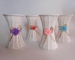 2019 vasi bianchi blu nozze 5pcs bianco rattan cesto di fiori silm vita vaso vasi di stoccaggio nastro per la festa di nozze case giardino decorazione dell'ufficio