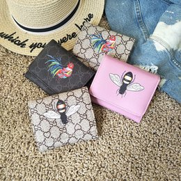 Wholesale Gift Card Printing - Best Selling Wholesale Europe Fashion Women Pu Wallets Luxury Design Short Bee Animal Prints 3 Folding Birthday Gift