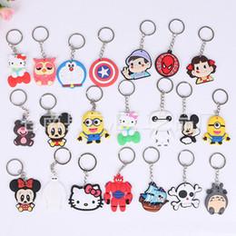 Wholesale Wedding Key Holder - Wholesale Cute Cartoon Mickey Mouse Hello Kitty Skeleton Car Key Chains Many Styles Keychain Wedding Favors Key ring Holders