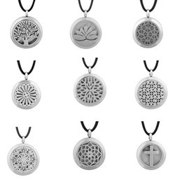 Wholesale High Christmas Tree - High Quality Essential Oil Diffuser Necklaces 316L Stainless Steel Tree of Life Cross Aromatherapy Lockets Pendant Necklace WS701