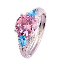 wholesale pink topaz jewelry Promo Codes - AAA CZ Lab Fashion Jewelry HandMade Pink Topaz 18K White Gold Plated Silver Ring Size 6 7 8 9 10 11 Free Shipping Wholesale