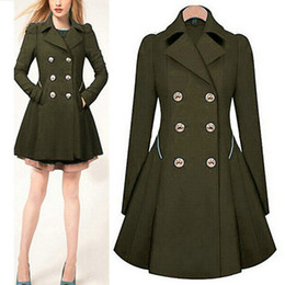 Wholesale Trench Coats For Ladies - Lapel Neck Slim Wait Trench Coat for Women's Clothes Long Sleeve Autumn Double-breasted Ladies Formal Clothing Work Coat Fashion Casual