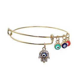 Wholesale Evil Eye Amulets - Bling Bling Hamsa Hand Blue Turkey Evil Eye Charm Bracelet Lucky Charm Amulet Bracelet Bangle Fashion Jewelry Hot Sale