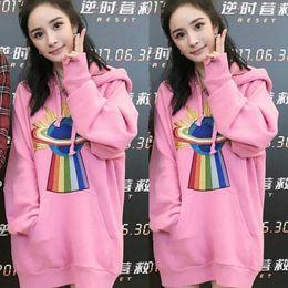 Wholesale Thin Sweatshirts For Women - Luxury brand pink hoodies for women autumn star style pullover women hoodies alien print long sleeve female sweatshirts free shipping