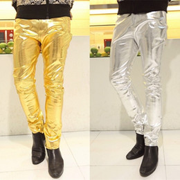 Wholesale Dancer Hip Hop - New Mens Skinny Faux PU Leather Pants Shiny Silver Gold Pants Trousers Nightclub fashion Hip-Hop Stage Costumes for Singers Dancer Male