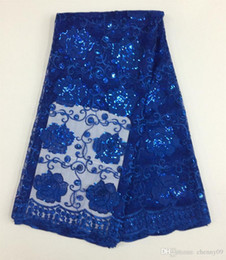 Wholesale Wholesale Price Mesh Fabric - Cheap Price !Nigerian Lace Fabrics With Sequins royalblue African French Net Lace Fabric Embroidered Tulle Mesh Lace Fabric