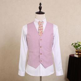 Wholesale Mens Wool Suits Vintage - 2017 Vintage Pink Tweed Vest Wool Herringbone Groom Vests British Style Mens Suit Vests Slim Fit Mens Dress Vest Custom Wedding Waistcoat