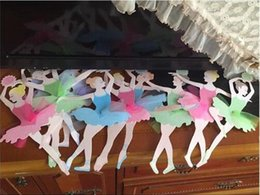 Wholesale manual baby - Ballet Girls Letter Paper Flag Manual DIY Multi Function Kids Room Baby Shower Decorate Tool Princess Flags Hot Sale 4 1yy J