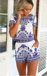 Wholesale Elegant Shorts Rompers - Rompers Womens Jumpsuit 2015 New Women Floral Printed Playsuit Overalls Summer Elegant Jumpsuits 2 Piece Crop Top & Shorts