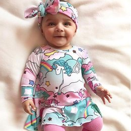 Wholesale Soft Jerseys - Rainbow horse Baby Girl dresses with headbands Ins New style Baby clothes Soft knit jersey 2017 Hotsale