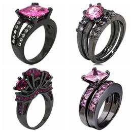 Schwarze ring rosa diamanten online-Größe 5-11 Schwarz Hochzeit Verlobungsring Princess Cut Pink Diamond Edelstein Crystal Statement vorschlagen Halo Anniversary Cocktailparty