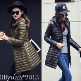 Wholesale Long Cashmere Coat Ladies - Fashion Winter Women Down cotton Long Coat Hooded Down Jacket Ladies Parka black red green s-xl