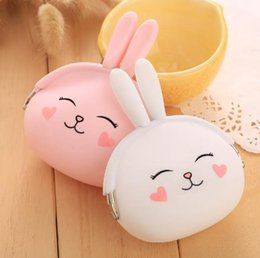 Wholesale Small Silicone Purses - 2016 New Fashion Coin Purse Lovely Kawaii Cartoon Rabbit Pouch Women Girls Small Wallet Soft Silicone Coin Bag Kid Gift