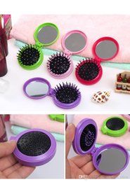 Wholesale Travel Comb Mirror - 2018 Time-limited Pvc Comb Hair Comb 100pcs 2016 New Arrival 2 In 1 Massage Combs with Mirror Portable Makeup Travel Folding free Shipping
