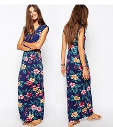 Wholesale Tropical Style Dresses - Brand new Europe and tropical plant printed patch pocket dress dress DFML073,free shipping summer dresses for women