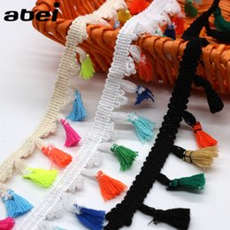 Wholesale White Fringe Trim - 20yards lot 4.5cm width White Beige Black Cotton Tassel Lace Trims Dress Fringe Hanging Fabric Ribbon Hometexile Curtain Sewing Accessories
