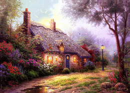 Wholesale Beautiful Oil Painting Abstract Canvas - Thomas Kinkade Landscape Oil Painting Reproduction High Quality Giclee Print on Canvas cottage beautiful hut Modern Home Wall Art Decor Gift