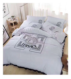 Wholesale Pure Bedding - New fashion tide brand Nordic style lace letters bedding four sets of pure color small fresh home textile