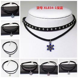 Wholesale Necklace Vintage Green Punk Chain - 8 Styles Punk Gothic Style Vintage Double-Deck Collar Velvet Ribbon Snowflake Neckband Tattoo Statement Choker Necklace With Rhinestone