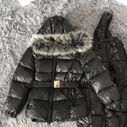 Wholesale Real Fur Suits - Boys Winter Clothing clothing Set Boys Ski Suit Girl Down Jacket real fur coat + Jumpsit Set Baby Girls Clothes Infant Down Jackets